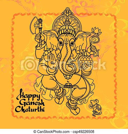 Hindu God Ganesha. Hand drawn Vector illustration. - csp49226508