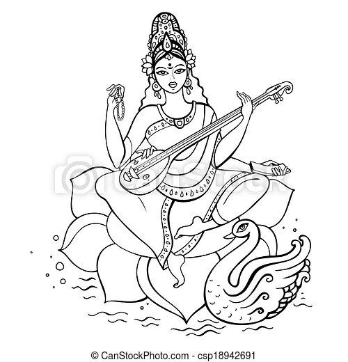 hindu gudinde, saraswati. - csp18942691