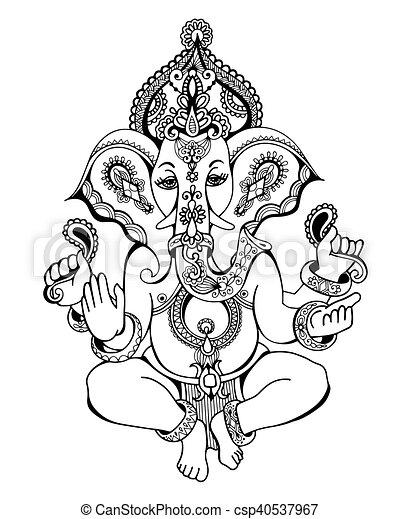 hindu lord ganesha ornate sketch drawing, tattoo, yoga - csp40537967