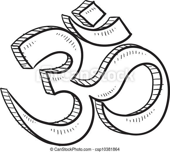 Hindu Om Sketch Doodle Style Hindu Om Or Yoga Symbol Sketch In