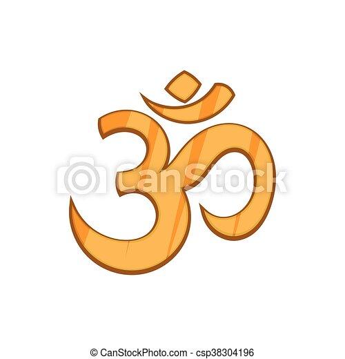 Hindu Om Symbol Icon In Cartoon Style Icon In Cartoon Style On A