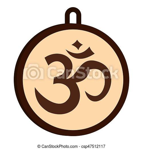 Hindu Om Symbol Icon Isolated Hindu Om Symbol Icon Flat Isolated On