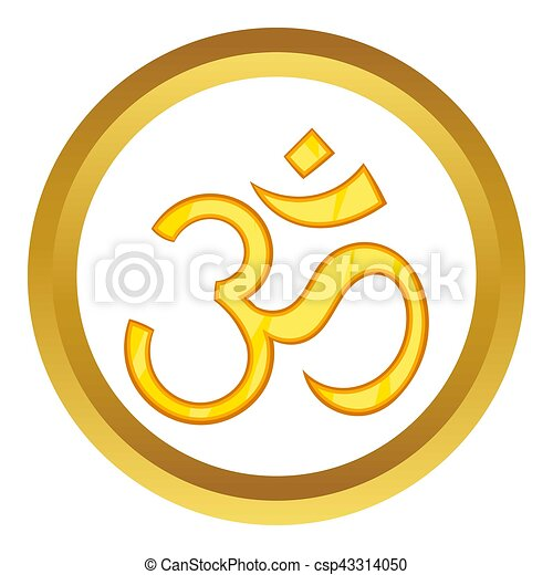 Hindu Om Symbol Icon In Golden Circle Cartoon Style Isolated On