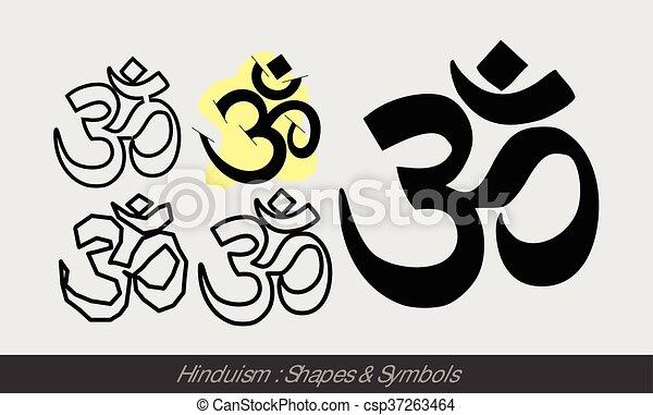 Hinduism Religious Symbols Vector Illustration Clip Art Vector