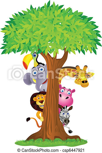 Tier-Cartoon versteckt sich hinter dem Baum - csp6447921