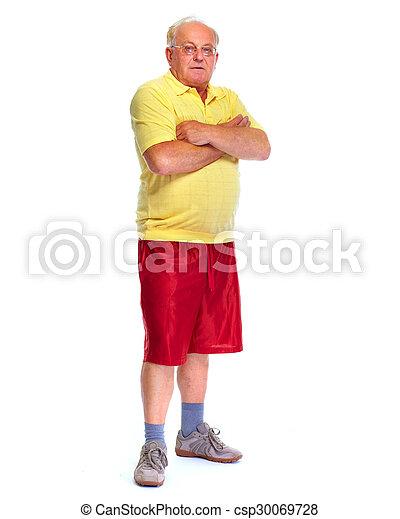 hintergrund., älterer mann, weißes, freigestellt - csp30069728