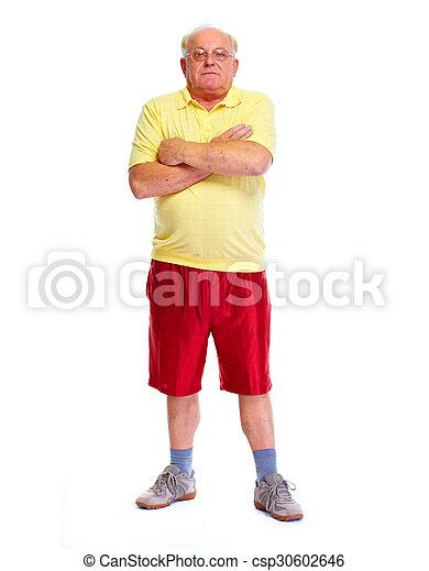 Senior Mann isolierte den weißen Hintergrund. - csp30602646