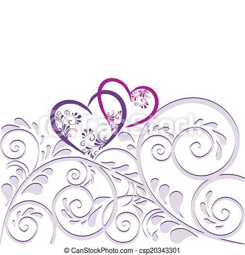 Hintergrund aus Ornamenten mit Herz - csp20343301
