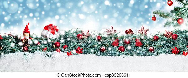 hintergrund, banner, weihnachten - csp33266611