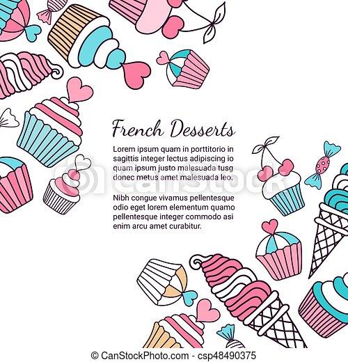 Hintergrund, cupcake. Dekorativ, 10, illustration ...