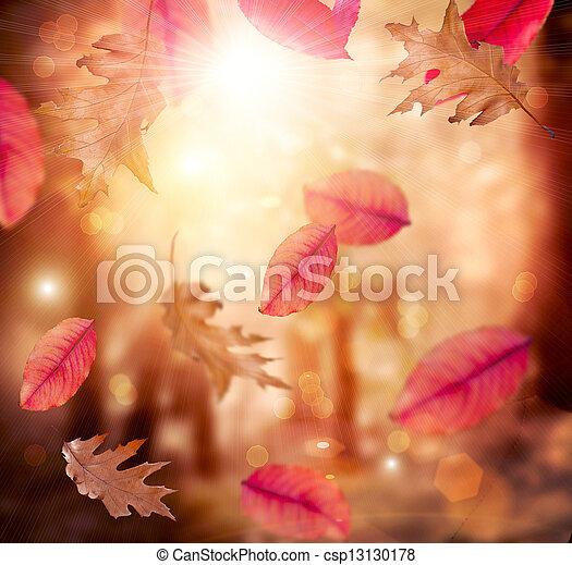 Herbst. Fallen. Autumnaler Hintergrund. Blätter - csp13130178