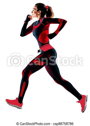 hintergrund, frau, läufer, jogging, overall, freigestellt, weißes, rennender , jogger - csp88758786
