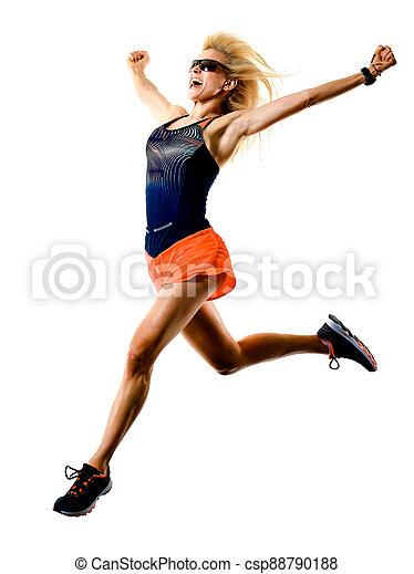 hintergrund, frau, läufer, jogging, schöne , freigestellt, weißes, rennender , jogger - csp88790188