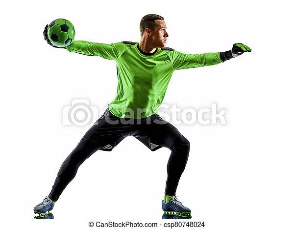 hintergrund, freigestellt, spieler, mann, fußball, schatten, torwart, silhouette, weißes - csp80748024