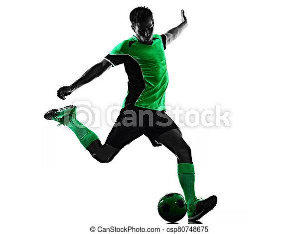 hintergrund, junger, freigestellt, spieler, mann, fußball, schatten, silhouette, weißes - csp80748675