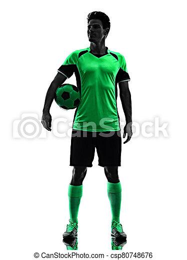 hintergrund, junger, freigestellt, spieler, mann, fußball, schatten, silhouette, weißes - csp80748676