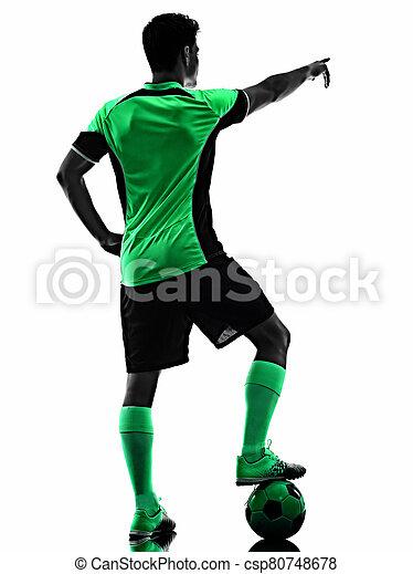 hintergrund, junger, freigestellt, spieler, mann, fußball, schatten, silhouette, weißes - csp80748678