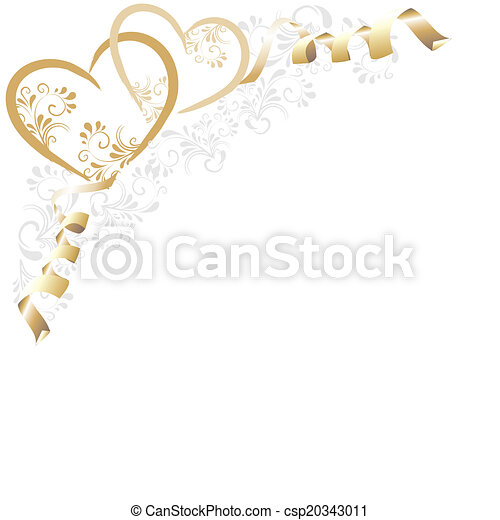 Hintergrund mit goldnen Herzen - csp20343011