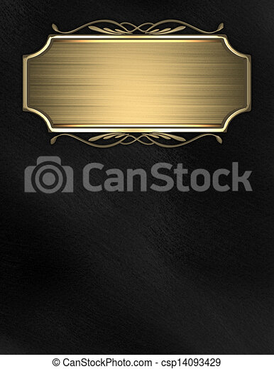 hintergrund schwarz namensschild gold schreibende. Black Bedroom Furniture Sets. Home Design Ideas