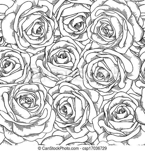 hintergrund seamless hand drawn rosen schwarz wei es vektor illustration suche clipart. Black Bedroom Furniture Sets. Home Design Ideas