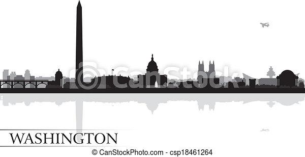 hintergrund, skyline, stadt, washington silhouette - csp18461264