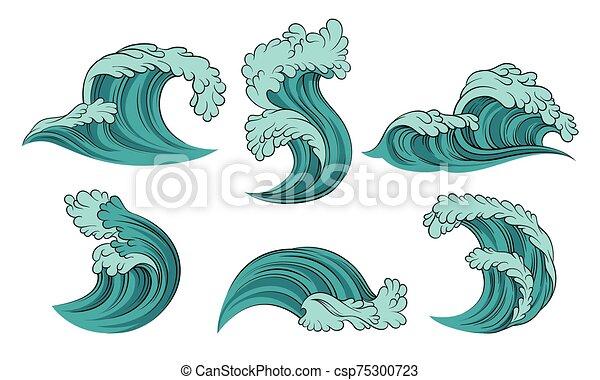 hintergrund., türkis, vektor, abbildung, meer, satz, waves., weißes - csp75300723