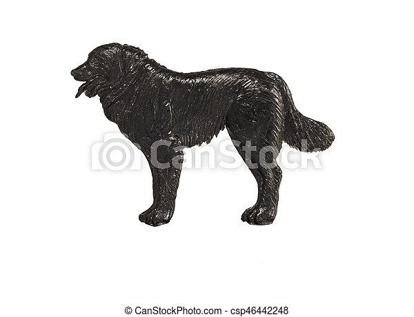 Hintergrund Weißes Schwarzer Hund Figur Schafhirte Figur Hund