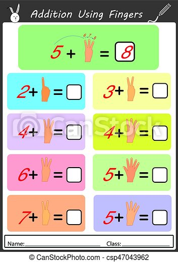 Hinzufügung, gebrauchend, finger, mathe, arbeitsblatt. Kinder ...