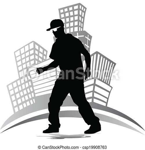 hip hop dancer silhouette - csp19908763