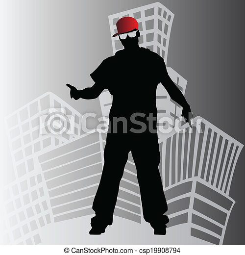 hip hop dancer silhouette - csp19908794