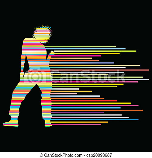 Hip Hop Dancer Silhouette Vector Background Concept Made Of Stripes For Poster