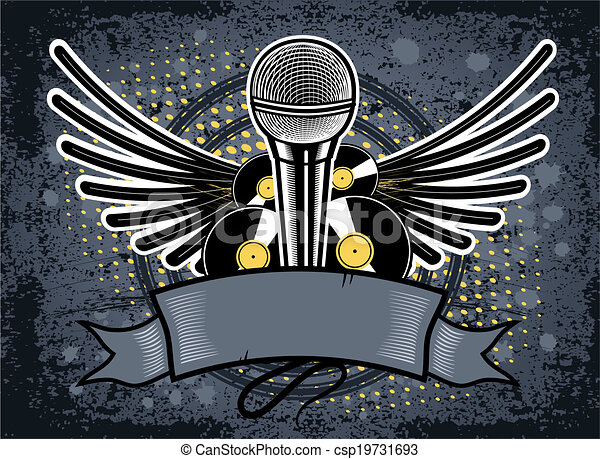 Hip Hop Music Emblem With Microphone On The Grunge Background