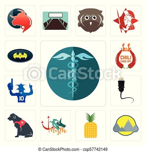 hipaa, cane, set, servizio, icone, pipistrello, montain, ventilatore, pinapple, sport, ethernet, cuoco, peperoncino, mito, spento - csp57742149