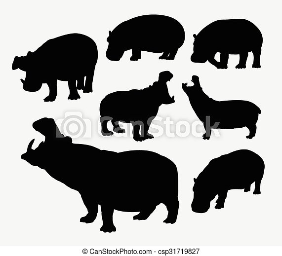 Hippopotamus silueta animal salvaje - csp31719827