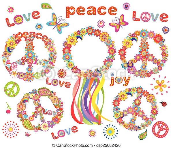 Hippie flowers wreath - csp25082426