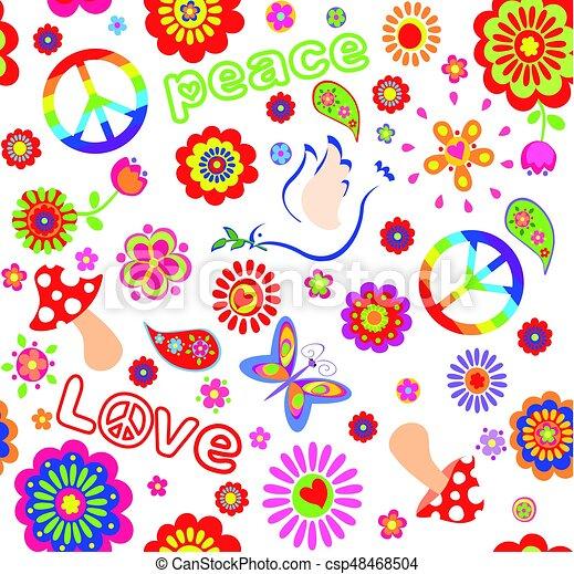 Fiori Hippie.Hippie Fungo Simbolico Infantile Carta Da Parati Fiori