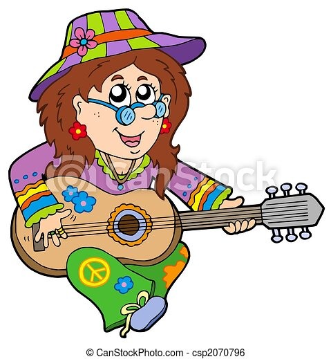 hippie guitar player isolated illustration stock illustration rh canstockphoto com hippie clip art graphics hippie clip art happy birthday