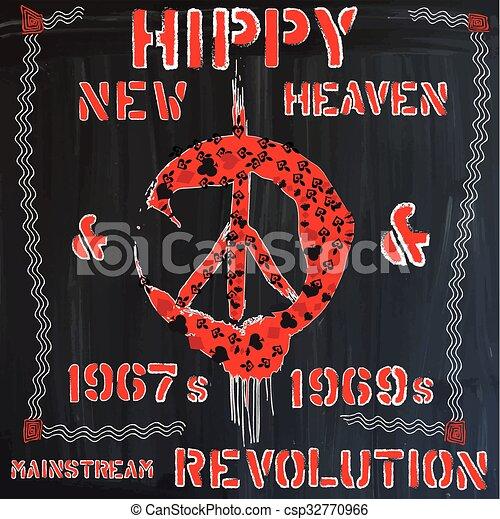hippie - hand drawn vector - csp32770966