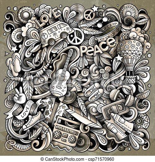 Hippie hand drawn vector doodles illustration. Hippy poster design. - csp71570960