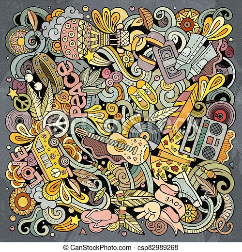 Hippie hand drawn vector doodles illustration. Hippy poster design. - csp82989268