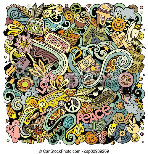 Hippie hand drawn vector doodles illustration. Hippy poster design. - csp82989269