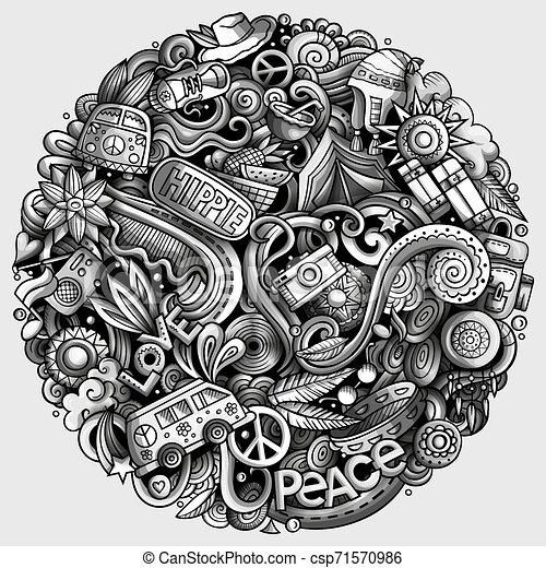 Hippie hand drawn vector doodles illustration. Hippy poster design. - csp71570986