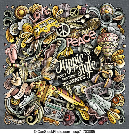Hippie hand drawn vector doodles illustration. Hippy poster design. - csp71703085