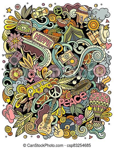 Hippie hand drawn vector doodles illustration. Hippy poster design. - csp83254685