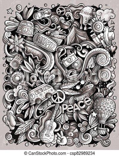 Hippie hand drawn vector doodles illustration. Hippy poster design. - csp82989234