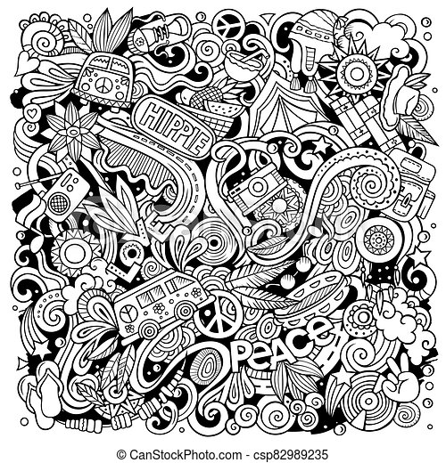 Hippie hand drawn vector doodles illustration. Hippy poster design. - csp82989235