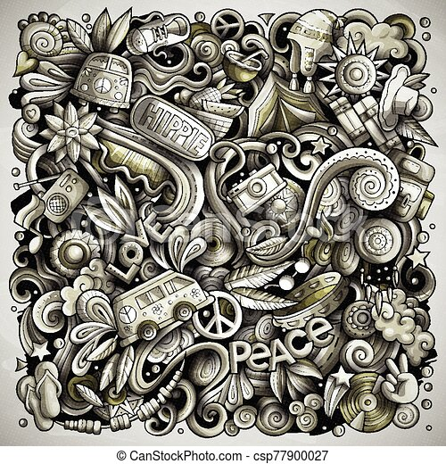 Hippie hand drawn vector doodles illustration. Hippy poster design. - csp77900027