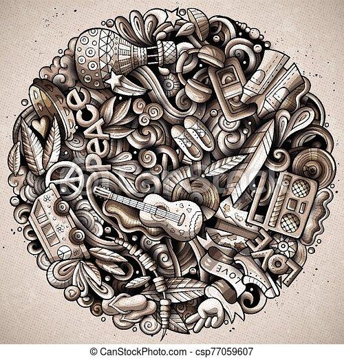 Hippie hand drawn vector doodles illustration. Hippy poster design. - csp77059607