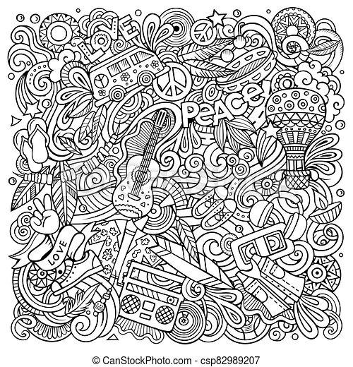 Hippie hand drawn vector doodles illustration. Hippy poster design. - csp82989207