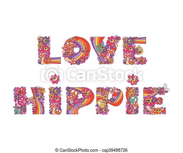 Hippie., impresión, flores, amor.